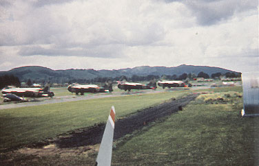 Line up of New Zealand Air Force Bristol Freighters in New Zealand