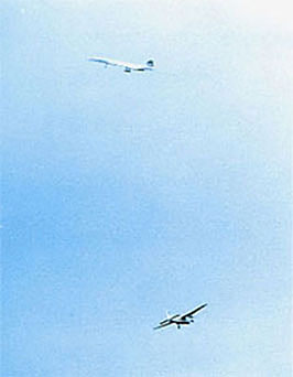 Concorde and Bristol freighter during Air Show at Duxford