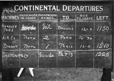 Departure board at Hounslow Aerodrome, 13 October 1919
