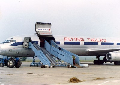 Flying Tigers with horse ramp positioned ready for loading horses